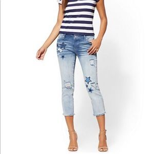 NY&CO Soho Star Patchwork Cropped Boyfriend Jeans